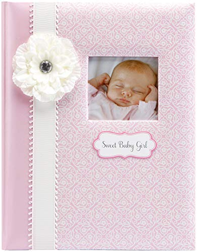 """C.R. Gibson Pink and White 'Sweet Baby Girl' Bound First Five Years Baby Book, 64pgs, 10"""" W x 11.75"""" H"""