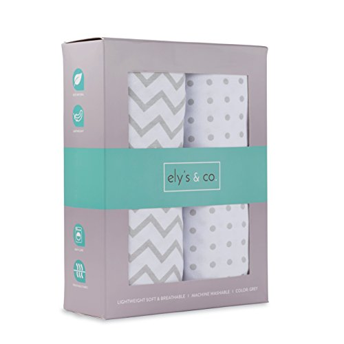 Crib Sheet Set 2 Pack 100% Jersey Cotton for Baby Girl and Baby Boy by Ely's & Co. – Grey Chevron and Polka Dot by Ely's & Co.