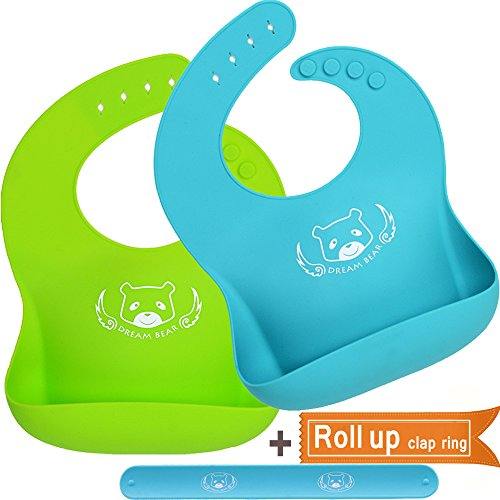 DREAM BEAR Waterproof Soft Silicone Baby Bibs,Easy Clean With Big Roll Up Pocket.Set of 2Pack (Lime Green&Turquoise)
