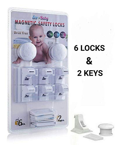 Eco-Baby Child Safety Cabinet and Drawer Locks for Proofing Kitchen 6 Pack Latches