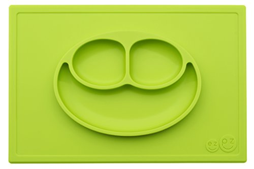 ezpz Happy Mat – One-Piece Silicone placemat + Plate (Lime)