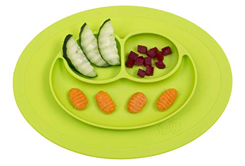 ezpz Mini Mat – One-Piece Silicone placemat + Plate (Lime), One Size