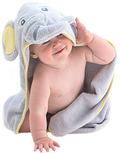 Hooded Baby Towel Gray Elephant by Little Tinkers World Natural Cotton Soft and Absorbent Bath Towels with Hood for Babies, Toddlers, Perfect Baby Shower Gift for Girls or Boys