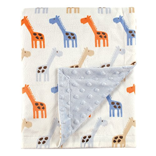 Hudson Baby Unisex Baby Plush Mink Blanket with Dotted Mink Back, Blue Giraffe, 30×40 inches