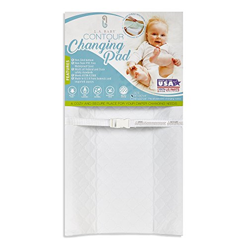 LA Baby Waterproof Contour Changing Pad, 30″ – Made in USA. Easy to Clean w/Non-Skid Bottom, Safety Strap, Fits All Standard Changing Tables/Dresser Tops for Best Infant Diaper Change