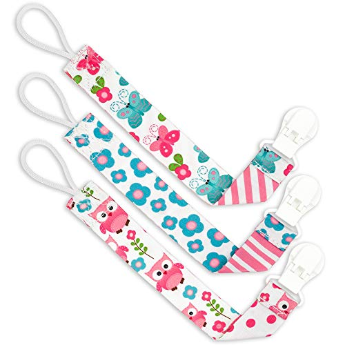 Liname️ Pacifier Clip for Girls – 3 Pack Gift Packaging – Premium Quality & Unique Design – Pacifier Clips Fit All Pacifiers & Soothers – Perfect Baby Gift
