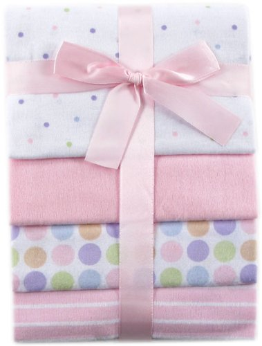 Luvable Friends Unisex Baby Cotton Flannel Receiving Blankets, Pink Basic Dots 4-Pack, One Size