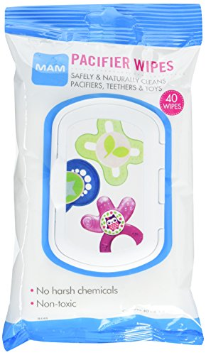MAM Pacifier Wipes, 4″ x 6″ Pacifier Cleaning Wipes, 0+ Months, 40-Count