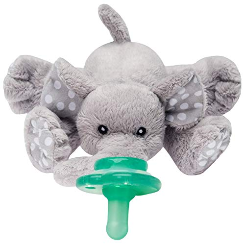 Nookums Paci-Plushies Buddies – Elephant Pacifier Holder – Plush Toy Includes Detachable Pacifier, Use with Multiple Brand Name Pacifiers