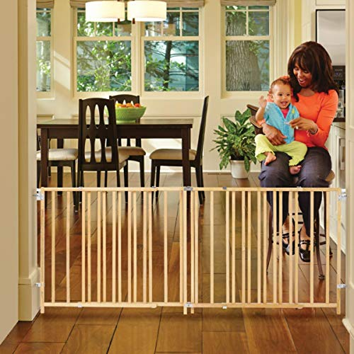 North States 103″ Wide Extra-Wide Swing Baby Gate: Perfect for Oversized Spaces. No Threshold and one-Hand Operation. Hardware Mount. Fits 60″-103″ Wide (27″ Tall, Sustainable Hardwood)