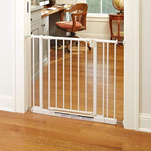 North States 38.5″ Wide Easy-Close Baby Gate: The Multi-Directional Swing gate with Triple Locking System – Ideal for doorways or Between Rooms. Pressure Mount. Fits 28″-38.5″ Wide (29″ Tall, White)
