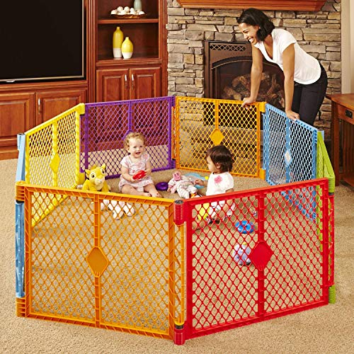 North States Superyard Colorplay 8-Panel Play Yard: Safe play area anywhere – Folds with carrying strap for easy travel. Freestanding. 34.4 sq. ft. enclosure (26″ tall, Multicolor)
