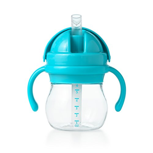 OXO Tot Transitions Straw Cup with Removable Handles, Aqua, 6 Ounce