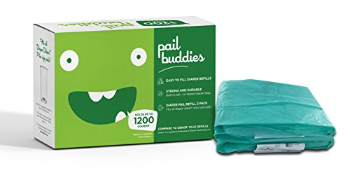 Pail Buddies Diaper Pail Refills – Each Refill Can Hold Up to 1200 Diapers – 2 Pack – Compatible with all Diaper Dekor Plus Diaper Pails