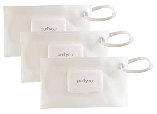 purifyou PurePouch Wipe Case | Keeps Wipes Moist | Set of 3 Premium Wetwipe Cases | Pastel Gray, Pink & Teal Baby Wet Wipe Portable Travel Cases
