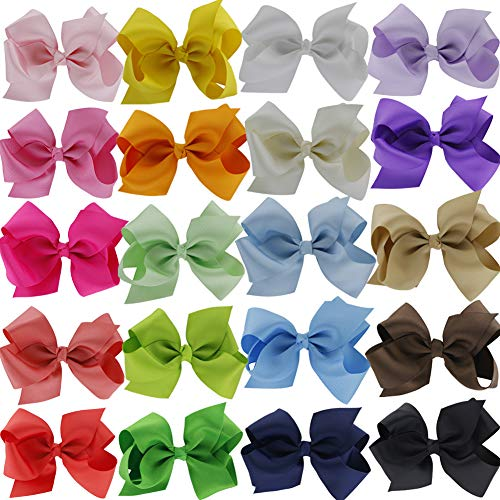 QingHan 4.5″ Hair Bow Clips Grosgrain Ribbon Boutique Bows for Girls Babies Teens Kids Toddlers Pack of 20