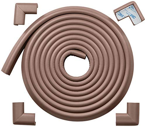 Roving Cove   Baby Proofing Edge & Corner Guards   Child Safety Furniture Bumper   Table Protectors   Pre-Taped Corners   Safe Edge & Corner Cushion   16.2 ft [15 ft Edge + 4 Corners]   Coffee Brown