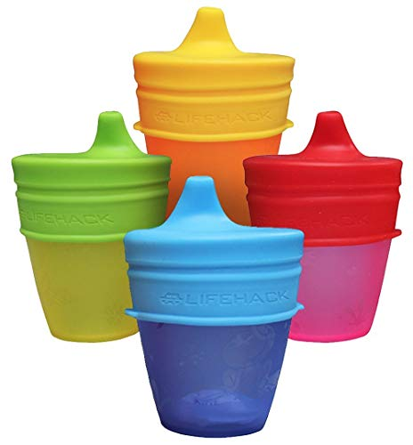 Sippy Cup Lids by MrLifeHack – (4 Pack) – Makes Any Cup Or Bottle Spill Proof – 100% BPA Free Leak Proof Silicone – Perfect for Toddlers & Babies