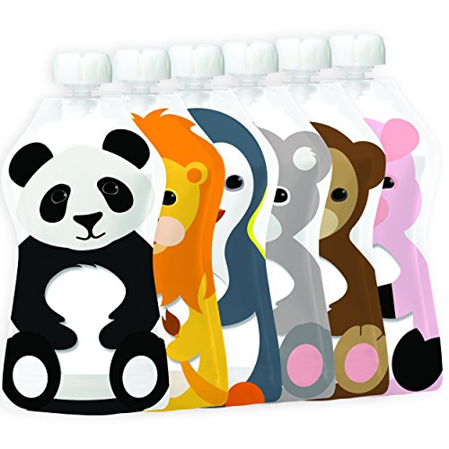 Squooshi Reusable Food Pouch | Animal 6 Pack | 5 Ounce (6 Count)