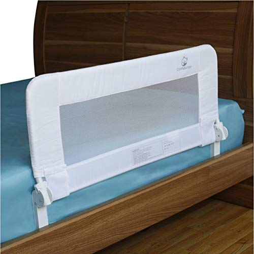 Toddler Bed Rail Guard for Kids Twin, Double, Full Size Queen & King Mattress – Bed Rails for Toddlers – Universal Fit for Slats & Boxspring – Children & Baby Bedrail by ComfyBumpy (White Reg)