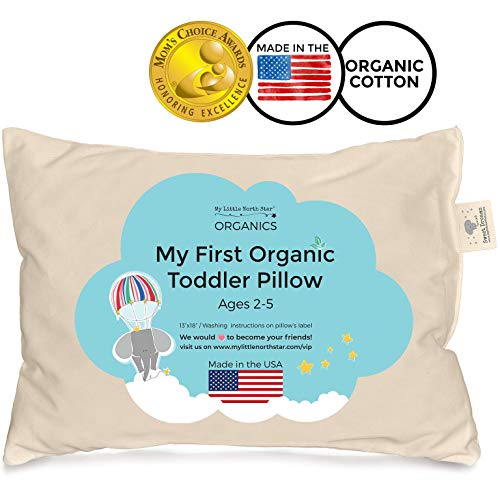 Toddler Pillow – Organic Cotton Made in USA – Washable Unisex Kids Pillow – 13X18