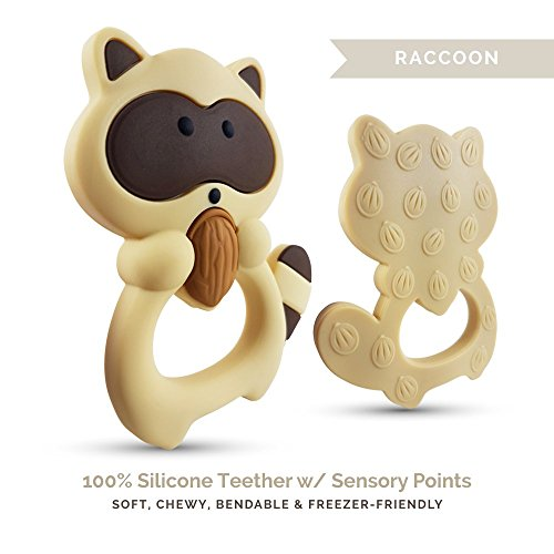 Tulamama Teething Toys and Teethers By Tulamama. Bendable & Freezer friendly. Highly Recommended by Moms. 100% Silicone (similar to nipples & pacifiers), BPA & Phthalates Free, FDA Compliant. Raccoon