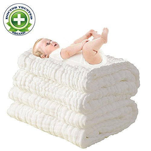 100% Medical Grade Cotton,Water Absorbent,Super Soft Cotton Gauze,Suitable for Baby's Delicate Skin,Newborn Muslin Cotton Warm Baby Bath Towels Also for Baby Blanket – 1 pcs