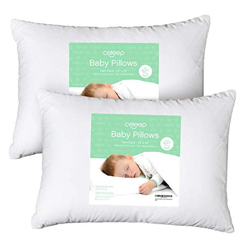 [2-Pack] Celeep Baby Toddler Pillow Set – 13 x 18 Inches Toddler Bedding Small Pillow – Baby Pillow with 100% Cotton Cover
