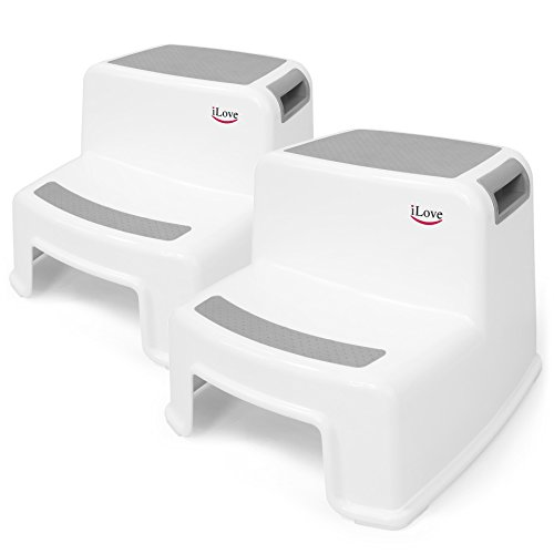 2 Step Stool for Kids (Gray 2 Pack)   Toddler Stool for Toilet Potty Training   Slip Resistant Soft Grip for Safety as Bathroom Potty Stool, Kitchen Step Stool   Dual Height, Wide Two Step   iLove