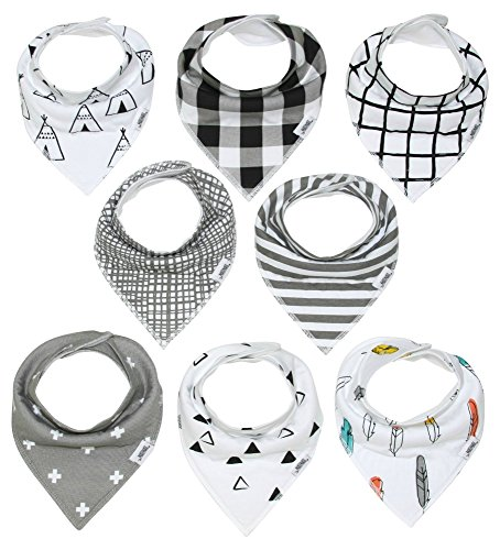 Baby Boy Bibs – Bandana Bib for Infant Boys – Teething and Drool Bib Accessories – Top Baby Registry and Shower Gifts Must Haves by Matimati 8-Pack Bandana Scarf (Monochrome)