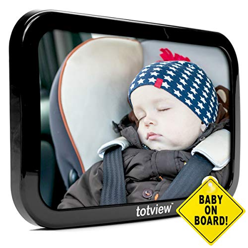Baby Car Mirror – for Rear Facing Car Seats – Large, Secure Fit Baby Mirror – Easily View Infant in Backseat – Best Newborn Baby Accessory for Travel – Free Baby-On-Board Sign