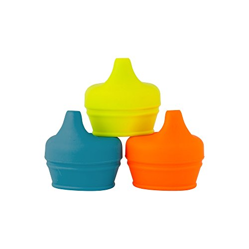 Boon Snug Silicone Sippy Lids, Blue/Orange/Green (Pack of 3)