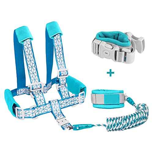 Borje Safety Child Anti Lost Wrist Link Harness Strap Rope Leash Walking Hand Belt (Blue)