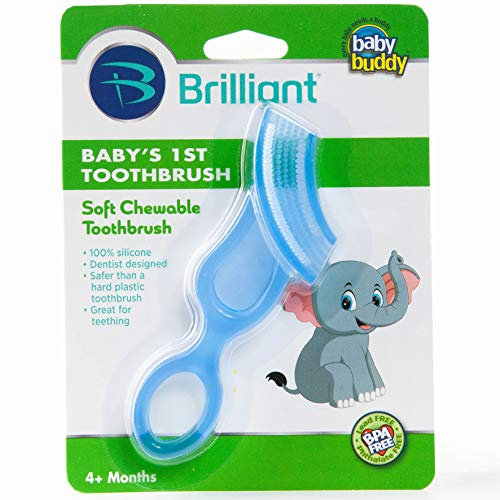 Brilliant Baby's 1st Toothbrush Teether –  Premium Silicone First Toothbrush for Babies and Toddlers – Kids Love Them, Blue, 1 Count