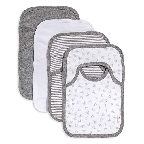 Burt's Bees Baby – Bibs, 4-Pack Lap-Shoulder Drool Cloths, 100% Organic Cotton with Absorbent Terry Towel Backing (Heather Grey)