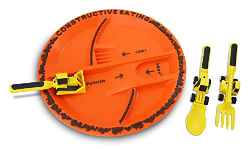 Constructive Eating Construction Plate with Construction Utensil Set for Toddlers, Babies, Infants and Kids – Flatware Toys are Made in the USA with FDA Approved Materials for Safe and Fun Eating