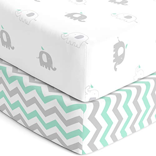 Crib Mattress Sheets – Heavenly Soft Jersey Knit Cotton Fitted Crib Sheet Set 2 Pack – Elephant Crib Sheets Boy or Girl – Standard Crib or Toddler Sheets, Mint Green, Grey