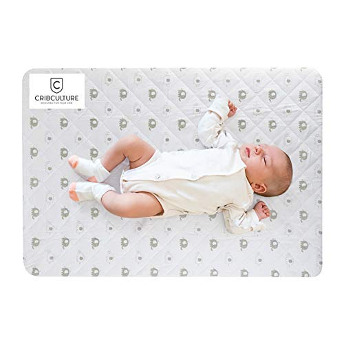 CribCulture Portable Mattress Pad Cover Protector – Elephant Pattern Designed to Fit Graco Pack N Play Mattress – Waterproof Fitted Padded Baby Playard Sheet, Play Yard Mattress Sheets for Mini Crib