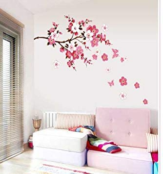 Cukudy Cherry Blossom Decal Removable Vinyl Art Wall Decal