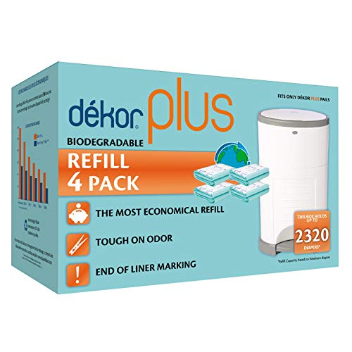 Dekor Plus Diaper Pail Biodegradable Refills | 4 Count  | Most Economical Refill System | Quick and Simple to Replace | No Preset Bag Size – Use Only What You Need | Exclusive End-of-Liner Marking