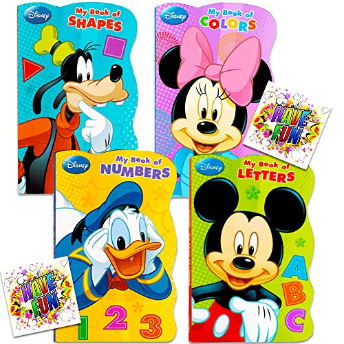 "Disney Mickey Mouse ""My First Books"" — Set of 4 Shaped Disney Mickey Mouse Board Books for Toddlers Kids"