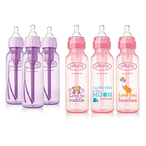 Dr. Brown's Baby Bottles Girls 6 Pack – 3 (8 oz) Lavender and 3 (8 oz) Pink bottles with new print