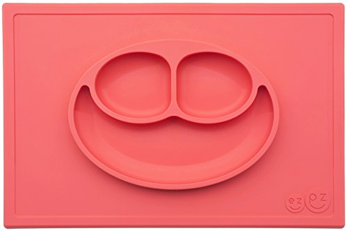 ezpz Happy Mat – One-piece silicone placemat + plate (Coral)