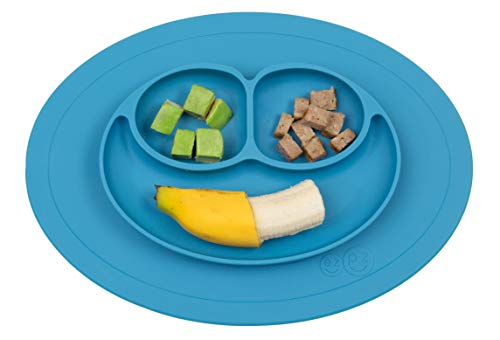 ezpz Mini Mat – One-Piece Silicone placemat + Plate (Blue)