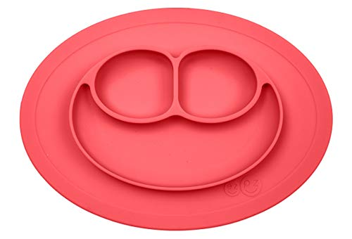ezpz Mini Mat – One-Piece Silicone placemat + Plate (Coral), One Size