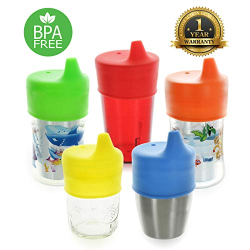Healthy Sprouts Silicone Sippy Lids (5 Pack) – Lab Tested, Spill Proof, BPA Free, Universal Soft Spout Stretch Tops – Make Any Kid Size Cup a Sippy Cup for Toddler, Baby, Infant (Red, Yellow, Blue)