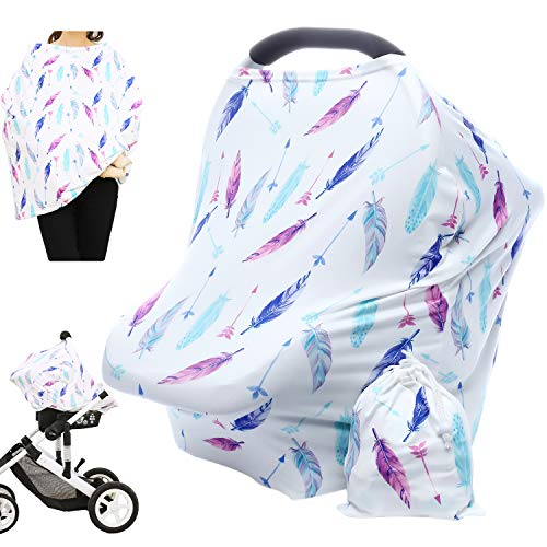 Hicoco Nursing Cover Carseat Canopy – Baby Breastfeeding Cover, Car Seat Covers for Babies, Multi Use Nursing Scarf, Infant Stroller Cover, Boys and Girls Shower Gifts (Feather)