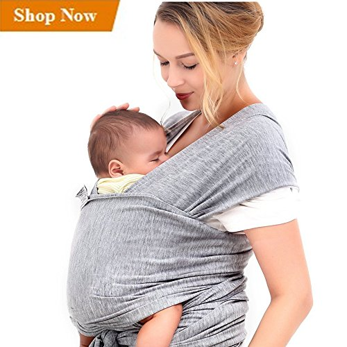 Innoo Tech Baby Sling Carrier Natural Cotton Nursing Baby Wrap Suitable for Newborns to 35 lbs Breastfeeding Sling Baby Holder Soft Safe and Comfortable Nice Baby Shower Gift Gray