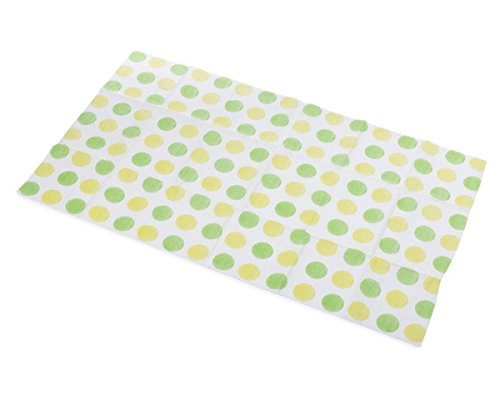 Little Things 25 Large Disposable Baby Diaper Changing Pads, 100% Leak-Proof Sanitary Mats for Changing Tables, Great for Travel, Premium Liners 26.75×18 in (Green/Yellow Dot Pattern)
