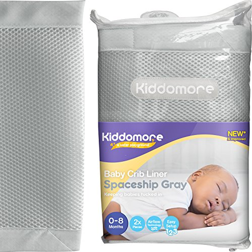 Modern Spaceship Gray Baby Mesh Crib Liner for All Cribs – Breathable Airflow Rail Cover and Bumper – Best for Protecting Your Baby from Getting Arms and Legs Stuck